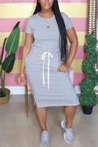 Fashion Casual Short Sleeve Gray Long Dress