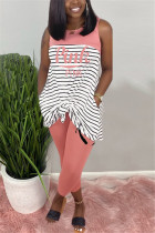 Fashion Casual Striped Letters Printing Pink Sleeveless Set