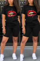 Fashion Lips Print T-shirt Black Casual Set