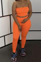 Sexy Fashion Orange Trousers Sports Two-piece Set