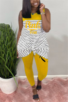Fashion Casual Striped Letters Printing Yellow Sleeveless Set