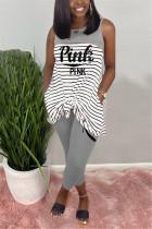 Fashion Casual Striped Letters Printing Grey Sleeveless Set