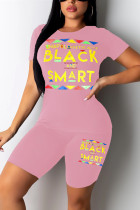 Fashion Casual Printed Pink Short Sleeve Set