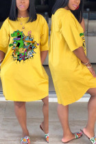 Fashion Casual Cartoon Printed Yellow Dress