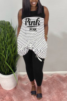 Fashion Casual Striped Letters Printing Black Sleeveless Set