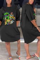 Fashion Casual Cartoon Printed Black Dress