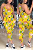 Fashion Cartoon Printed Yellow Sling Jumpsuit
