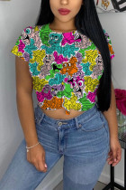 Fashion Casual Printed Multicolor Short-sleeved T-shirt Top