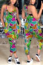 Fashion Cartoon Printed Fuchsia Sling Jumpsuit
