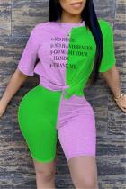 Fashion Letter Printed T-shirt Green Stitching Set