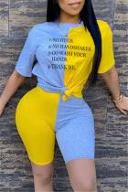 Fashion Letter Printed T-shirt Yellow Stitching Set