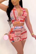Fashion Sexy Print Zipper Vest Skirt Red Set