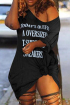 Fashion Sexy Printed Black Short Sleeve Dress