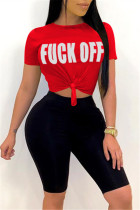 Fashion Letter Printed T-shirt Red Sports Set