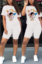 Fashion Sports Cartoon Printed White Two-piece Set