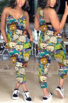 Fashion Cartoon Printed Cyan Sling Jumpsuit
