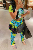 Fashion Sexy Printed Green Short Sleeve Top Two Pieces Set