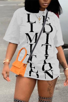 Fashion Casual Printed White Short-sleeved T-shirt Top