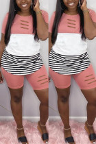 Fashion Casual Striped Pink Short Sleeve Two-piece Set