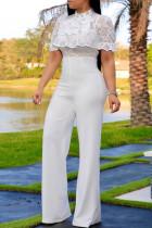 Fashion Sexy Lace Stitching White Jumpsuit