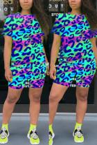 Fashion Casual Leopard Print Blue Two-piece Set