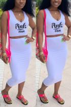 Fashion Casual Printed White Sleeveless Top Set