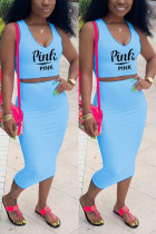 Fashion Casual Printed Blue Sleeveless Top Set