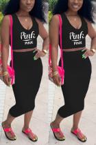 Fashion Casual Printed Black Sleeveless Top Set