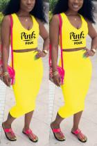 Fashion Casual Printed Yellow Sleeveless Top Set