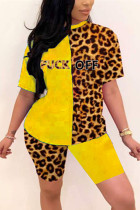 Fashion Sexy Printed Yellow Short Sleeve Two-piece Set