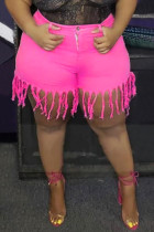 Fashion Casual Rose Red Plus Size Denim Shorts