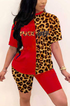 Fashion Sexy Printed Red Short Sleeve Two-piece Set