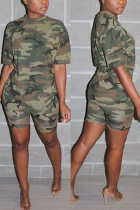Fashion Camouflage Printed Army Green Casual Set