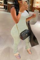 Fashion Sexy Beige White Tight Sleeveless Jumpsuit