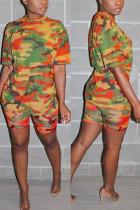 Fashion Camouflage Printed Orange Casual Set