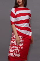 Fashion Casual Letter Stripe Printed Red Skirt Set