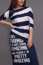 Fashion Casual Letter Stripe Printed Tibetan Blue Skirt Set