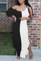 Fashion Casual Stitching White Strapless Dress