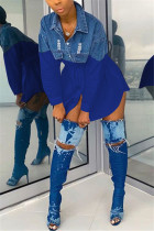 Fashion Casual Patchwor Dark Blue Denim Shirt Dressss