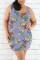 Fashion Casual Printed Purple Sleeveless Plus Size Dress