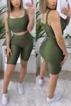 Fashion Sports Sleeveless Army Green Two-piece Set
