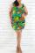Fashion Casual Printed Green Sleeveless Plus Size Dress