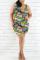 Fashion Casual Printed Cyan Sleeveless Plus Size Dress