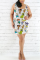 Fashion Casual Printed White Sleeveless Plus Size Dress