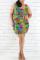 Fashion Casual Printed Colorful Sleeveless Plus Size Dress