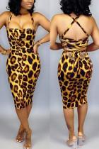 Sexy Leopard Print Yellow Slim Backless Dress