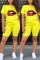 Fashion Lips Print T-shirt Yellow Casual Set
