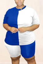 Fashion Casual Stitching White Short Sleeve Shorts Sports Set