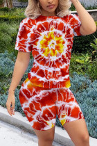 Fashion Sexy Printed Red Short-sleeved T-shirt Set
