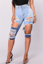 Fashion High Waist Blue Broken Hole Denim Pants